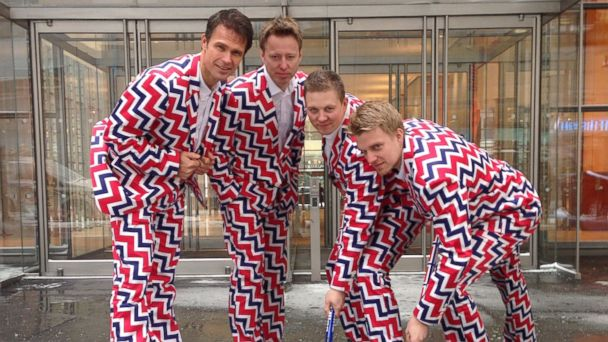 PHOTO: Members of the Norways Mens Olympic Curling Team from left Thomas Ulsrud, Torgor Nergard, Christoffer Svae, and Havard Vad Petersson wear their new Sochi 2014 suits as they pose for a photographer in New York, Jan. 21, 2014.
