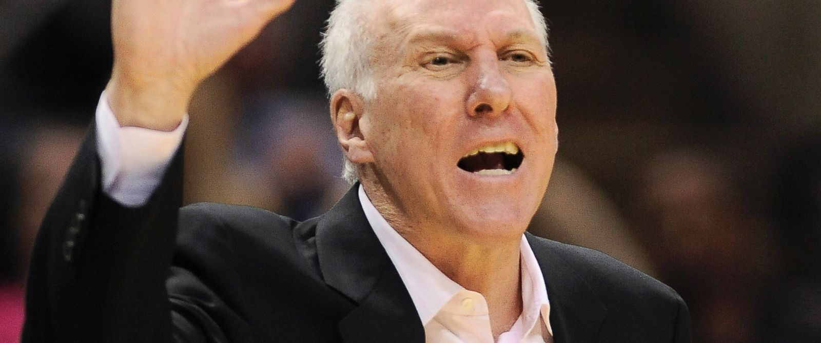 PHOTO: San Antonio Spurs head coach Gregg Popovich yells to an official during an NBA game against the Phoenix Suns, April 11, 2014, in San Antonio.