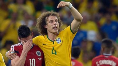 PHOTO: Brazils David Luiz, right, gestures to Colombias James Rodriguez at the end of the World Cup quarterfinal soccer match between Brazil and Colombia at the Arena Castelao in Fortaleza, Brazil, Friday, July 4, 2014. Brazil won the match 2-1.