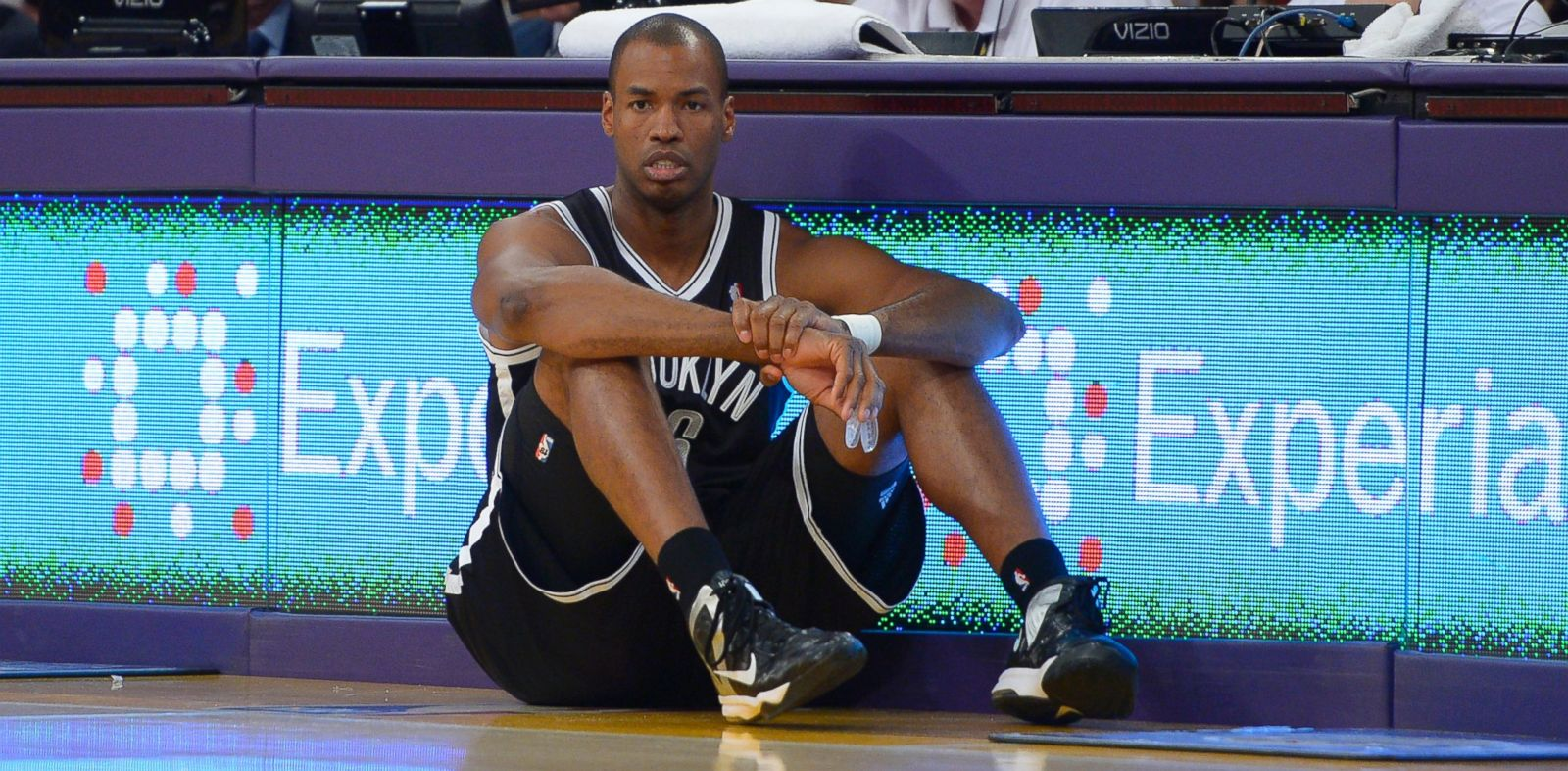 PHOTO: Brooklyn Nets center Jason Collins waits to come into the game during the second half of an NBA basketball game against the Los Angeles Lakers, Sunday, Feb. 23, 2014, in Los Angeles.