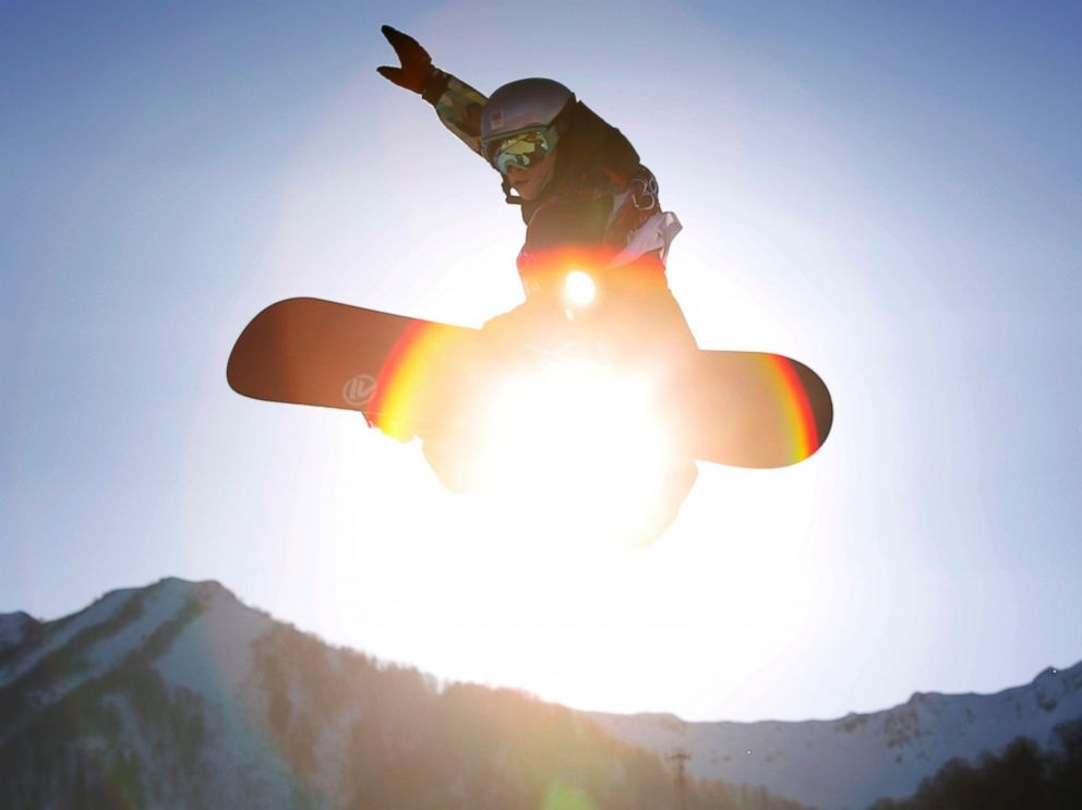 PHOTO: Czech Republics Sarka Pancochova takes a jump during the womens snowboard slopestyle qualifying at the Rosa Khutor Extreme Park ahead of the 2014 Winter Olympics, Feb. 6, 2014, in Krasnaya Polyana, Russia.