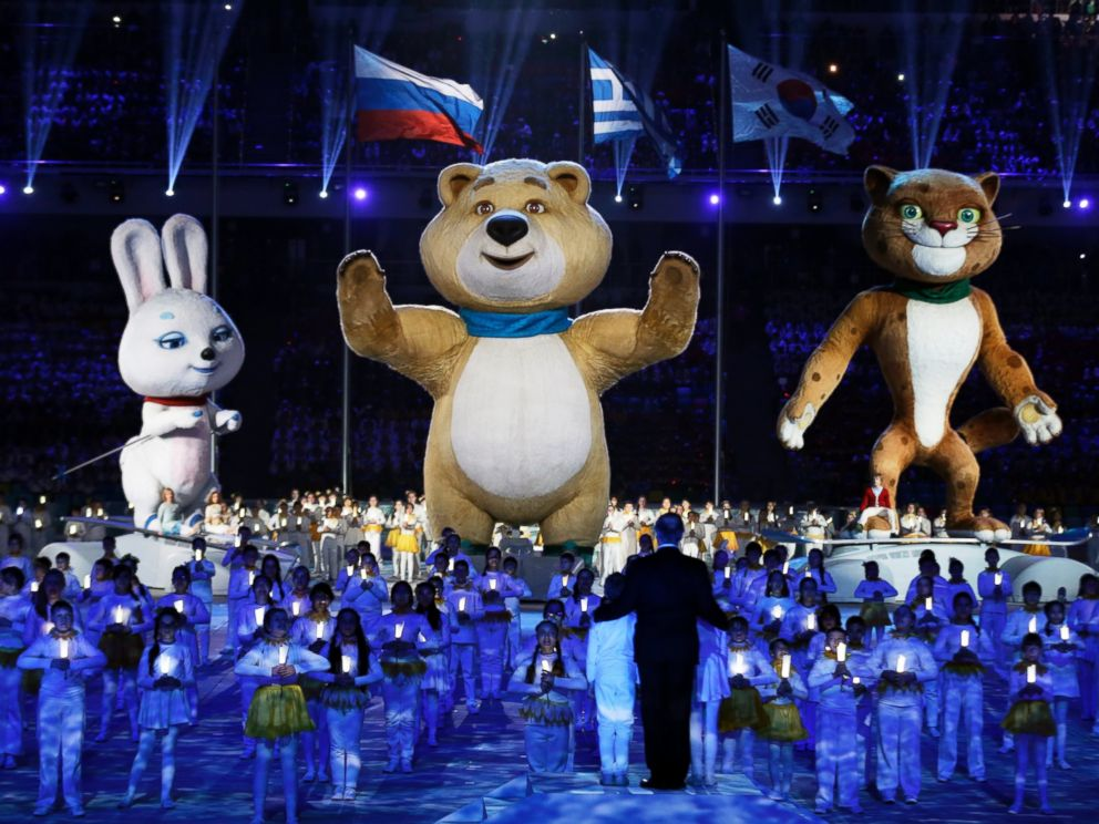 PHOTO: Large mascots and children perform during the closing ceremony of the 2014 Winter Olympics, Sunday, Feb. 23, 2014, in Sochi, Russia.