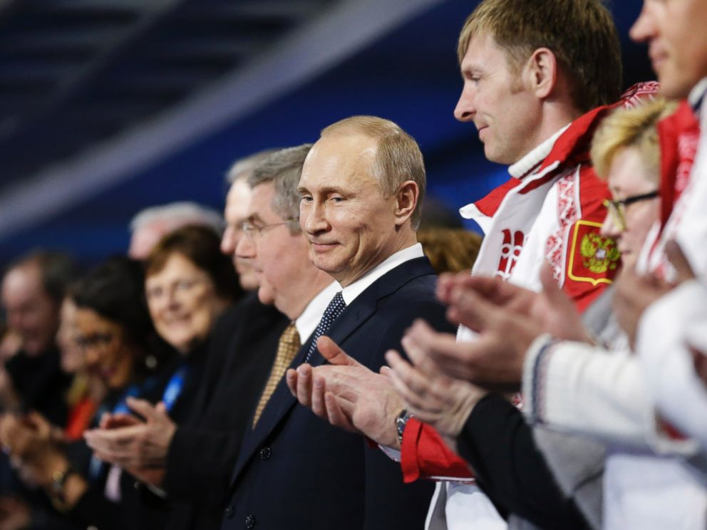 PHOTO: Russian President Vladimir Putin stands during the closing ceremony of the 2014 Winter Olympics, Sunday, Feb. 23, 2014, in Sochi, Russia.