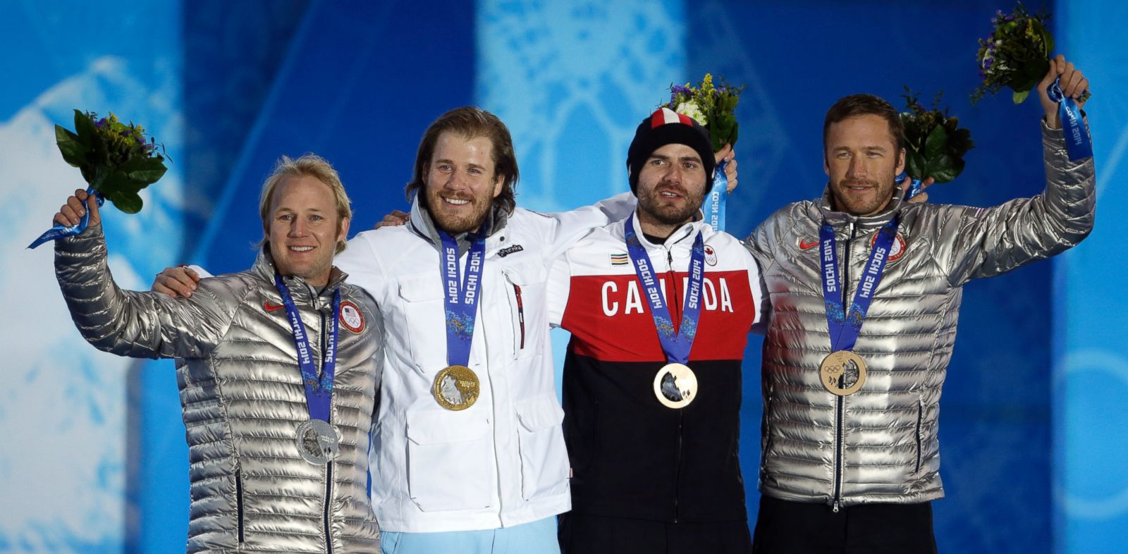PHOTO: Mens super-G medalists, from left, Andrew Weibrecht, silver, Kjetil Jansrud, gold, and Jan Hudec and Bode Miller, who tied for the bronze, pose with their medals at the 2014 Winter Olympics in Sochi, Russia, Sunday, Feb. 16, 2014.