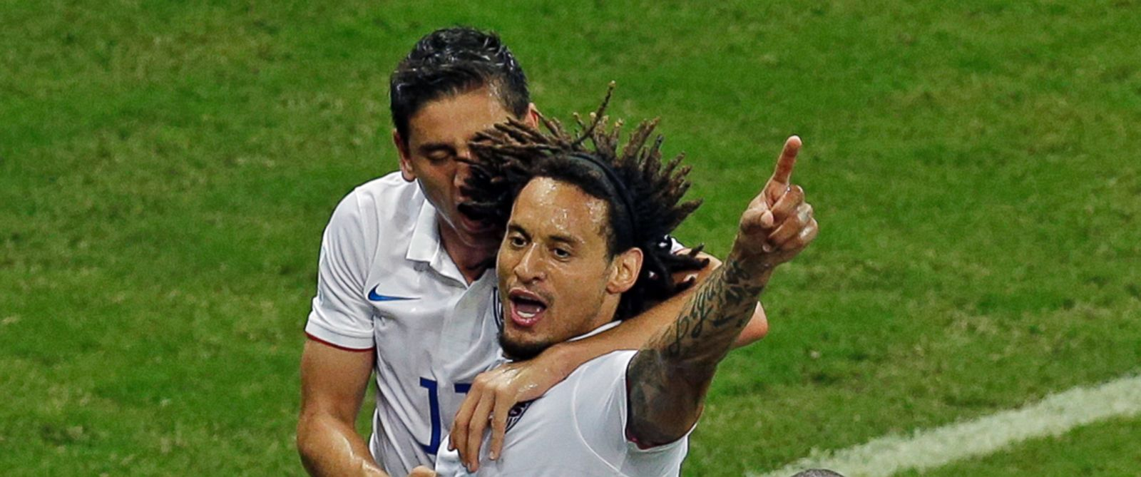 PHOTO: United States Jermaine Jones, center, celebrates scoring a goal during the group G World Cup soccer match between the USA and Portugal at the Arena da Amazonia in Manaus, Brazil, June 22, 2014.