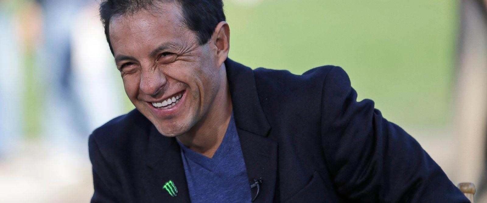 PHOTO: Jockey Victor Espinoza smiles at Belmont Park in Elmont, N.Y., Sunday, June 7, 2015.
