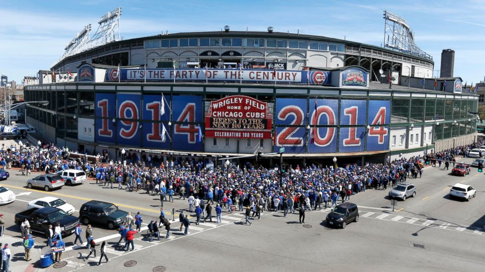 Wrigley Field S Birthday Celebrated With 100 Year Old Baseball Abc News