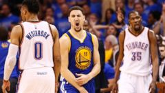 PHOTO: Golden State Warriors player Klay Thompson (C) reacts after shooting a three point basket against the Oklahoma City Thunder in the second half of the NBA Western Conference Finals basketball game six, May 28, 2016.