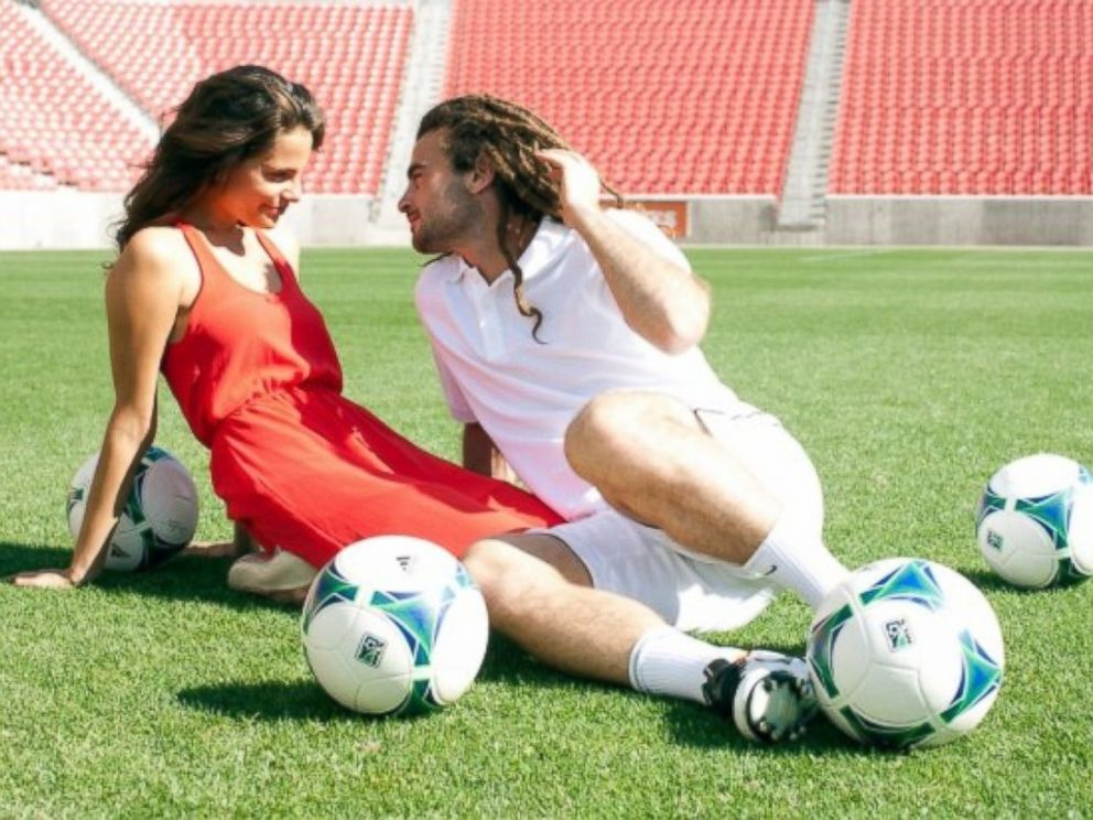 PHOTO: Kate Pappas and Kyle Beckerman spend some time on the field together.