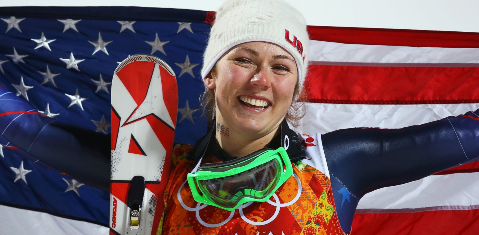 PHOTO: Gold medalist Mikaela Shiffrin of the U.S. celebrates during the flower ceremony for the Womens Slalom during day 14 of the Sochi 2014 Winter Olympics at Rosa Khutor Alpine Center, Feb. 21, 2014 in Sochi, Russia.