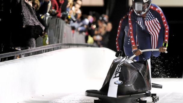 PHOTO: USA bobsled team of pilot Jazmine Fenlator and brakewoman Lolo Jones start the first of their two selection runs at the Utah Olympic Park in Park City, Utah, Oct. 25, 2013.