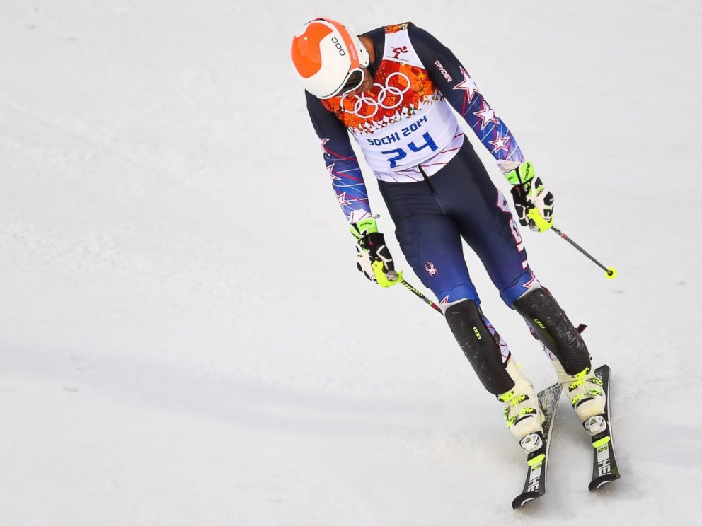 PHOTO: US skier Bode Miller reacts after the Mens Alpine Skiing Super Combined Slalom at the Rosa Khutor Alpine Center on Feb. 14, 2014.