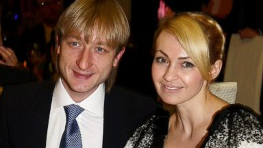 PHOTO: Evgeni Plushenko and Yana Rudkovskaya attend the 5th World Stars Ski Event held at Grand Hotel Sestriere, March 20, 2010, in Turin, Italy.