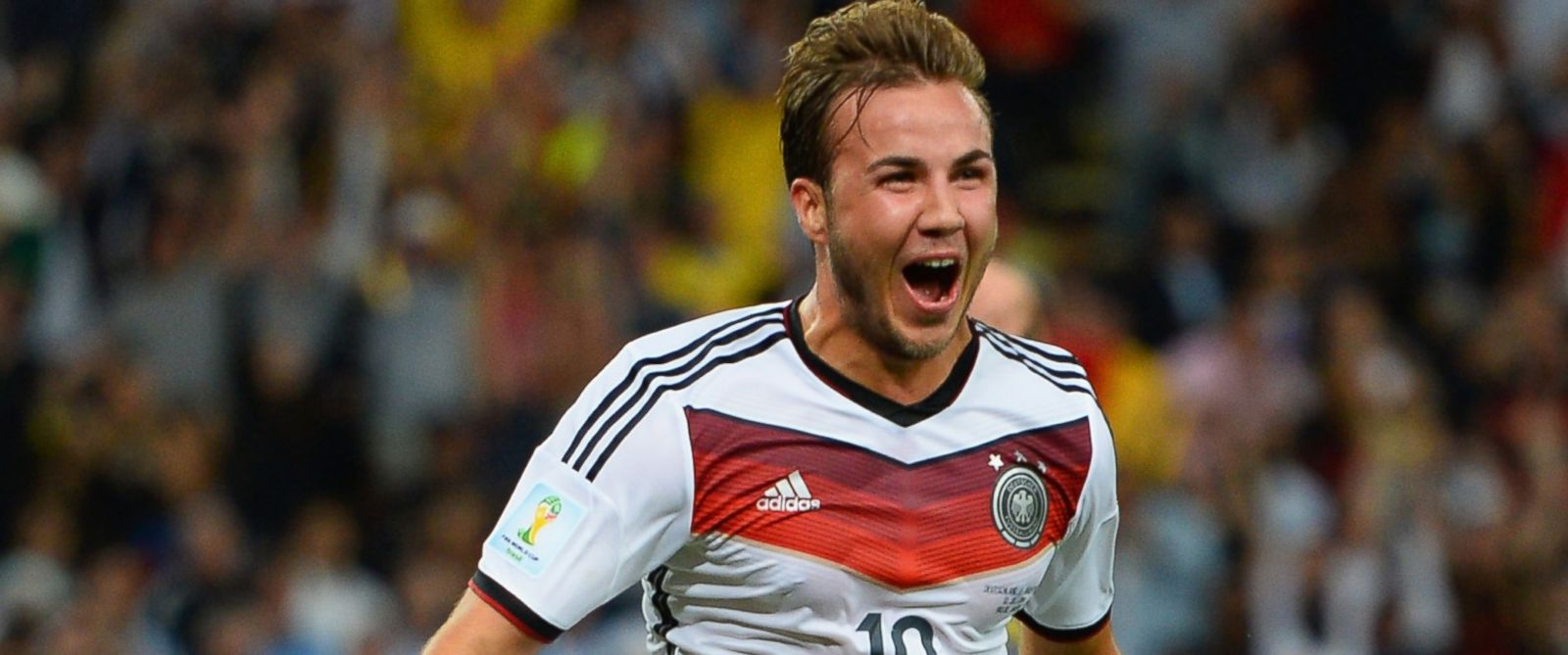 PHOTO: Mario Goetze of Germany celebrates scoring his teams first goal in extra time during the 2014 FIFA World Cup Brazil Final match between Germany and Argentina at Maracana, July 13, 2014, in Rio de Janeiro.