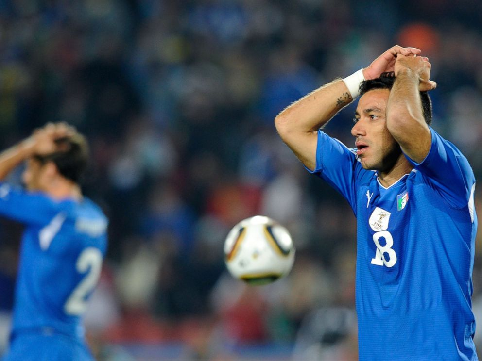 PHOTO: Fabio Quagliarella of Italy looks dejected during the 2010 FIFA World Cup South Africa Group F match between Slovakia and Italy at Ellis Park Stadium in this June 24, 2010, file photo in Johannesburg, South Africa.