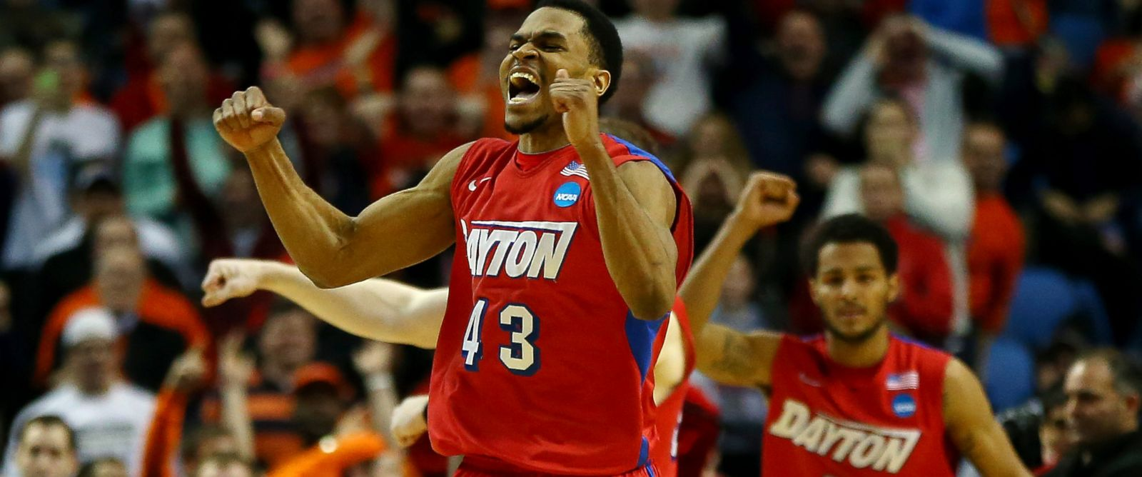 PHOTO: Vee Sanford of the Dayton Flyers reacts after defeating the Ohio State Buckeyes
