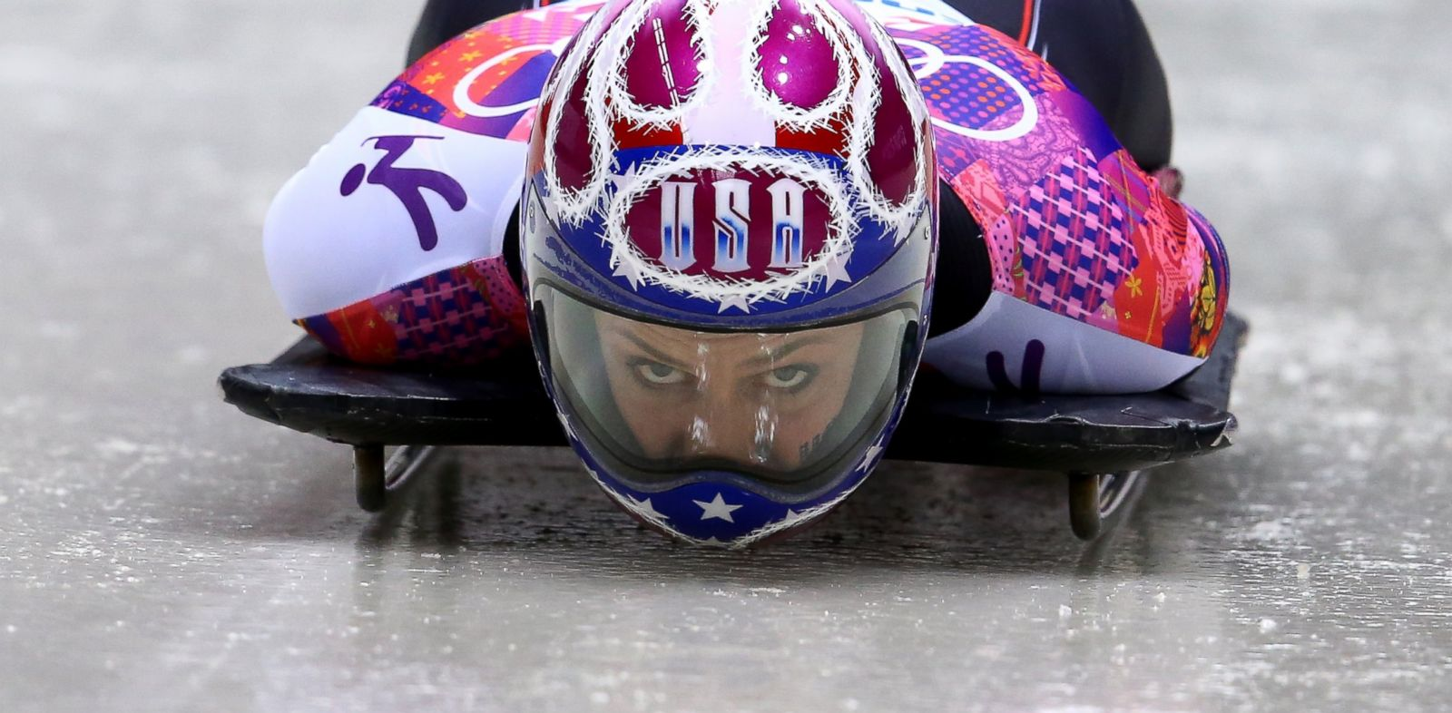 PHOTO: Noelle Pikus-Pace of the United States competes a run in the womens skeleton during the 2014 Sochi Winter Olympics on Feb. 14, 2014 in Sochi, Russia.