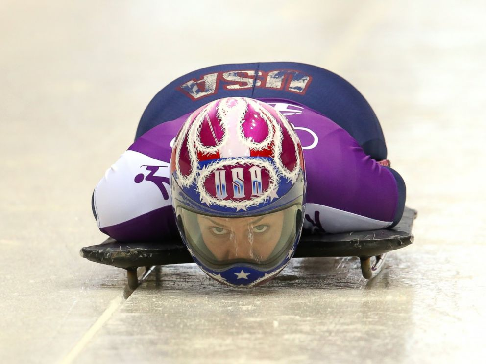 PHOTO: Noelle Pikus-Pace of USA practices during a Womens Skeleton training session