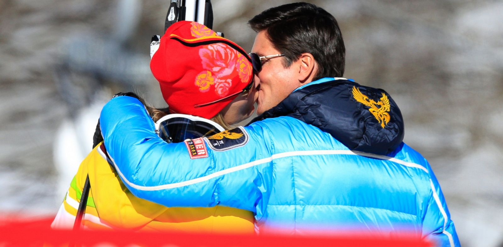 PHOTO: Germanys Maria Hoefl-Riesch kisses her husband and manager Marcus Hoefl after her womens alpine skiing downhill training session at the Rosa Khutor Alpine Center, Feb. 6, 2014, in Sochi, Russia.
