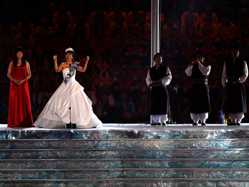 PHOTO: South Korean singer Jo Sumi (2nd L) performs during the 2014 Sochi Winter Olympics Closing Ceremony on Feb. 23, 2014 in Sochi, Russia.
