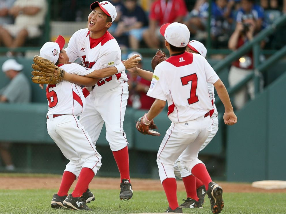 PHOTO: The Tokyo, Japan little league team celebrate after defeating the West team from Chula Vista, Ca 6-4 during the Little League World Series Championship game, Aug. 25, 2013, in Williamsport, Pa.