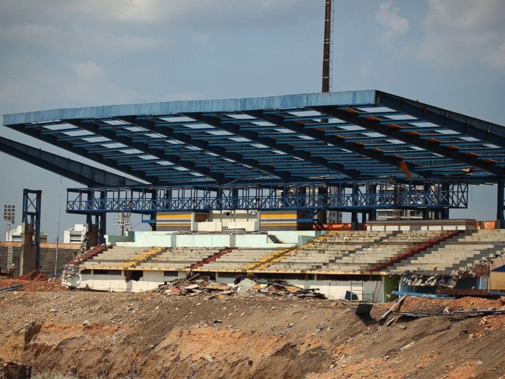PHOTO: General view of construction work at the Arena Amazonia, formerly known as Vivaldao Stadium, in this Oct. 1, 2010, file photo in Manaus, Brazil.