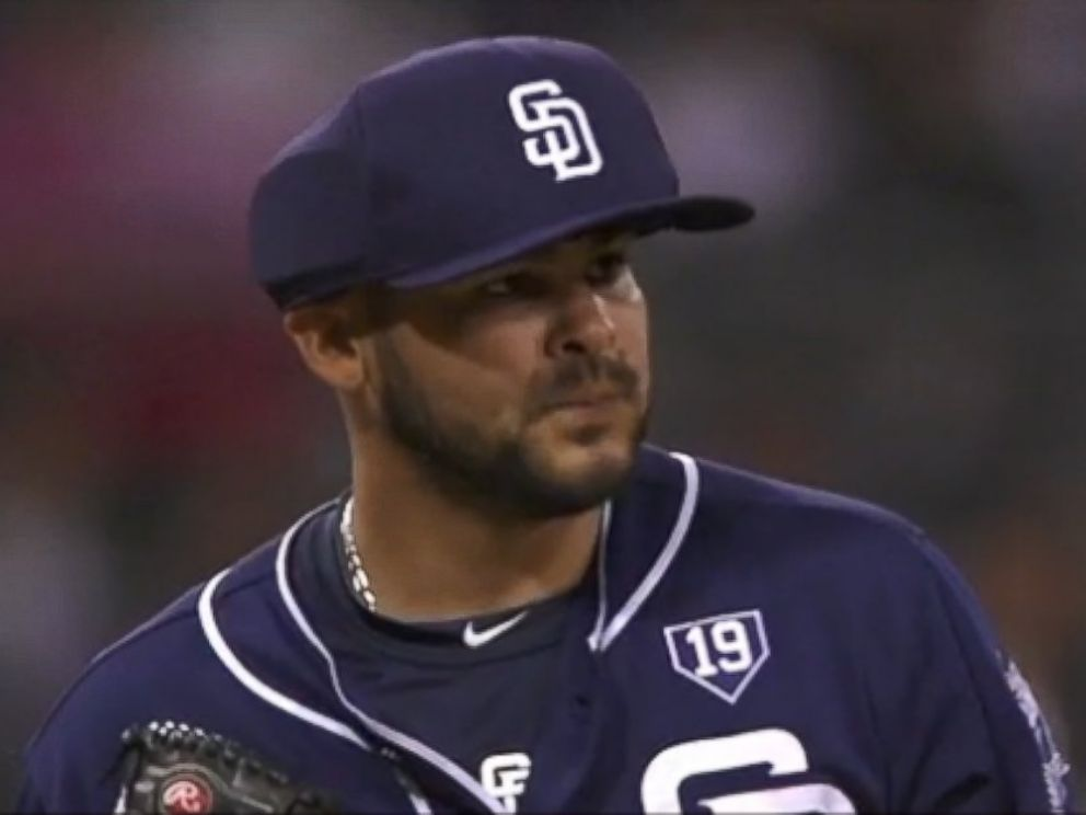 PHOTO: Alex Torres of the San Diego Padres is the first pitcher to wear protective cap in MLB game.