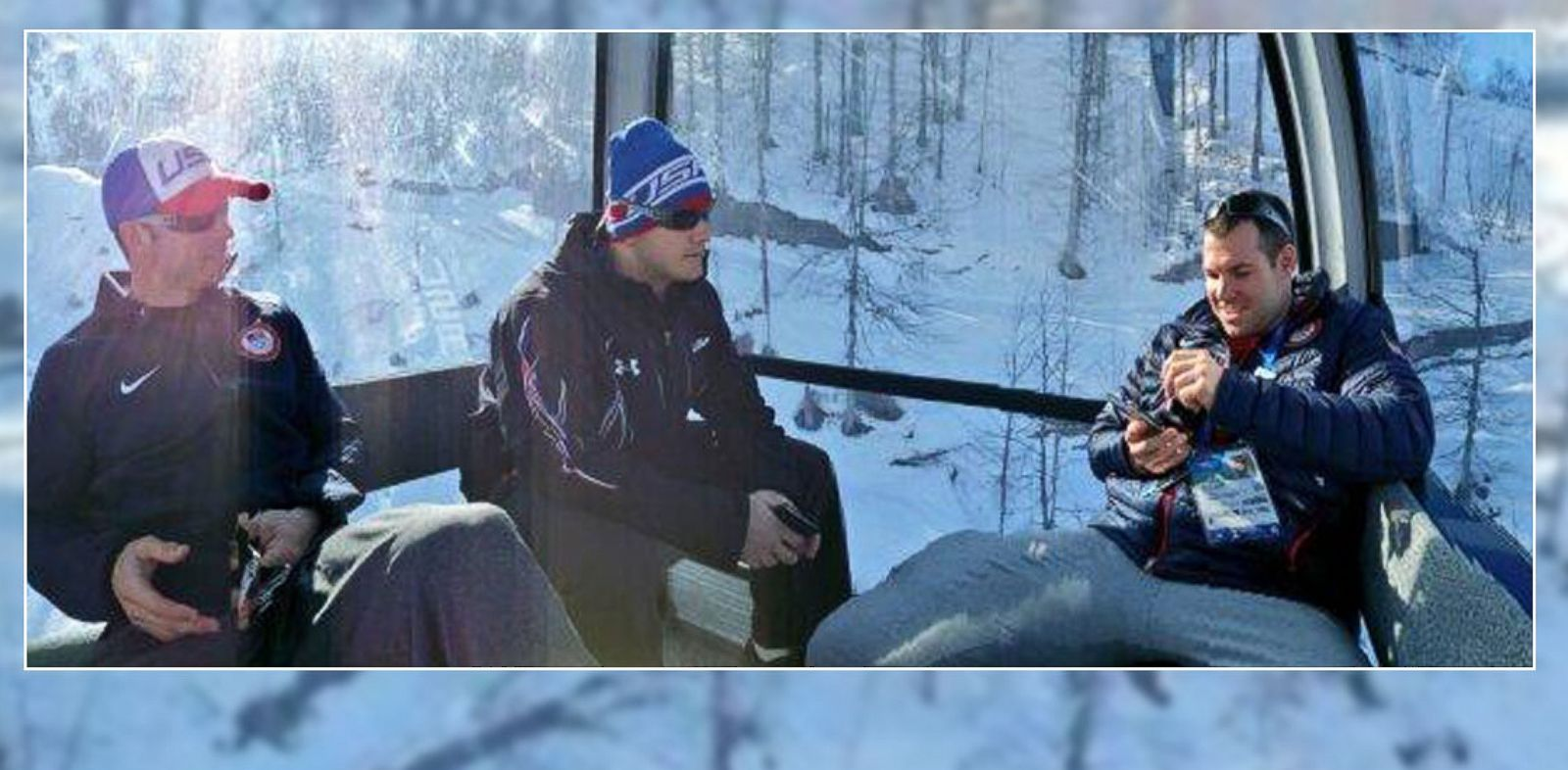 PHOTO: Members of the U.S. bobsledding team went for a gondola ride in Sochi, Russia, on Feb. 12, 2014.