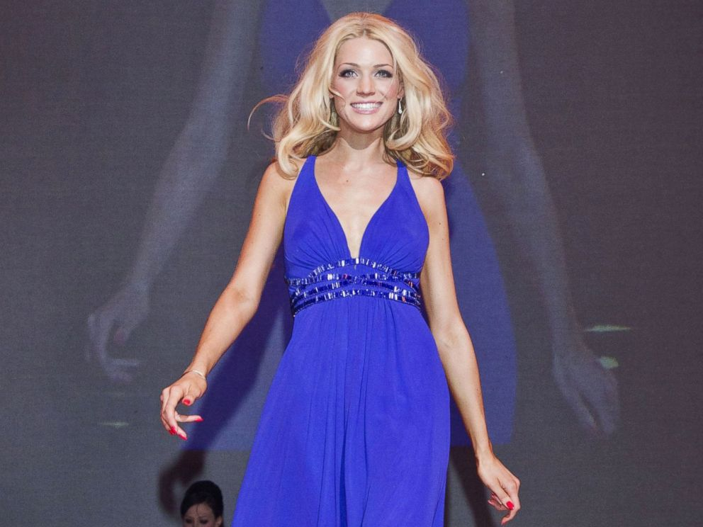 PHOTO: Sara McLean from the U.K. version of Big Brother is seen on stage during The Miss Scotland 2011 Final at the Royal Concert Hall in Glasgow on June 2, 2011.