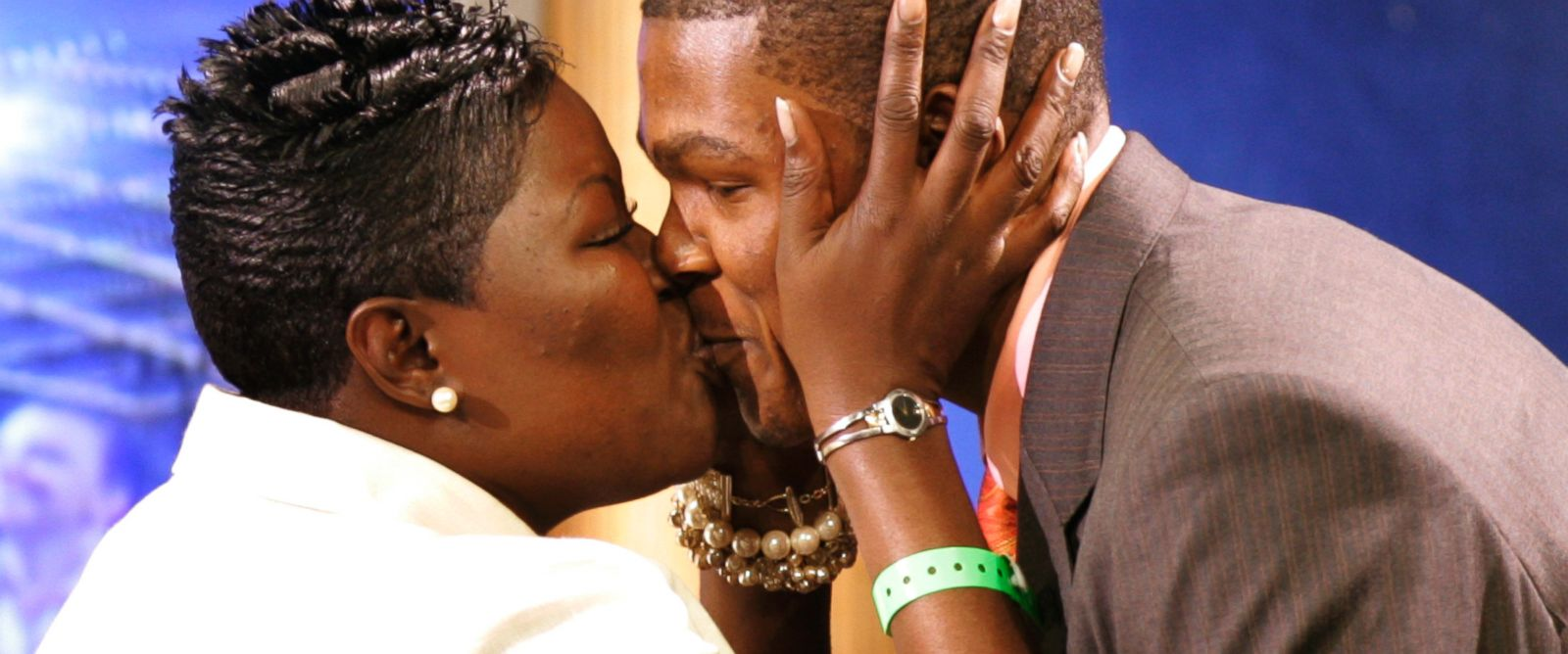 PHOTO: Kevin Durant of the University of Texas kisses his mother after being selected as the second overall pick by the Seattle Supersonics at the 2007 NBA Draft at Madison Square Garden in New York, in this file photo, June 28, 2007.