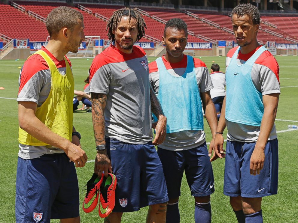 PHOTO: German-American players on the U.S. World Cup team, Fabian Johnson, Jermaine Jones, Julian Green, and Timothy Chandler meet after a practice in Stanford, Calif. on May 22, 2014.
