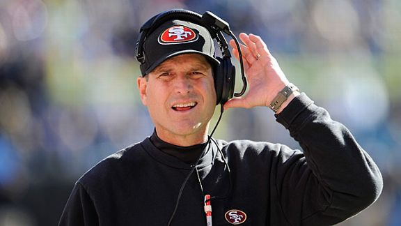 Head coach Jim Harbaugh of the San Francisco 49ers