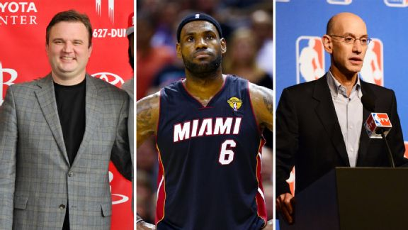 Daryl Morey, LeBron James, Adam Silver