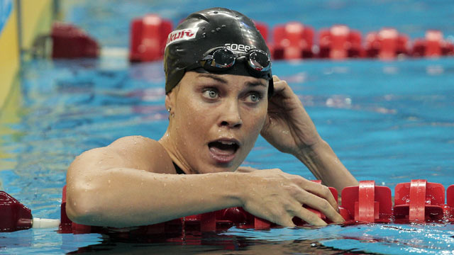 PHOTO: Natalie Coughlin of the United States reacts after winning the bronze medal in the Women's 100m Backstroke Final during Day Eleven of the 14th FINA World Championships at the Oriental Sports Center on July 26, 2011 in Shanghai, China.