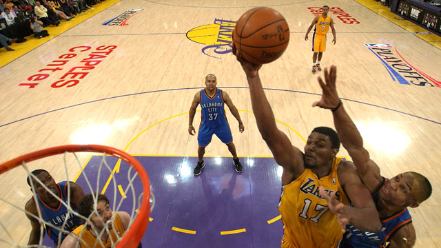 PHOTO: Andrew Bynum, #17 of the Los Angeles Lakers goes up for a shot in the second half in game four of the Western Conference Semifinals in Los Angeles, Ca., May 19, 2012.