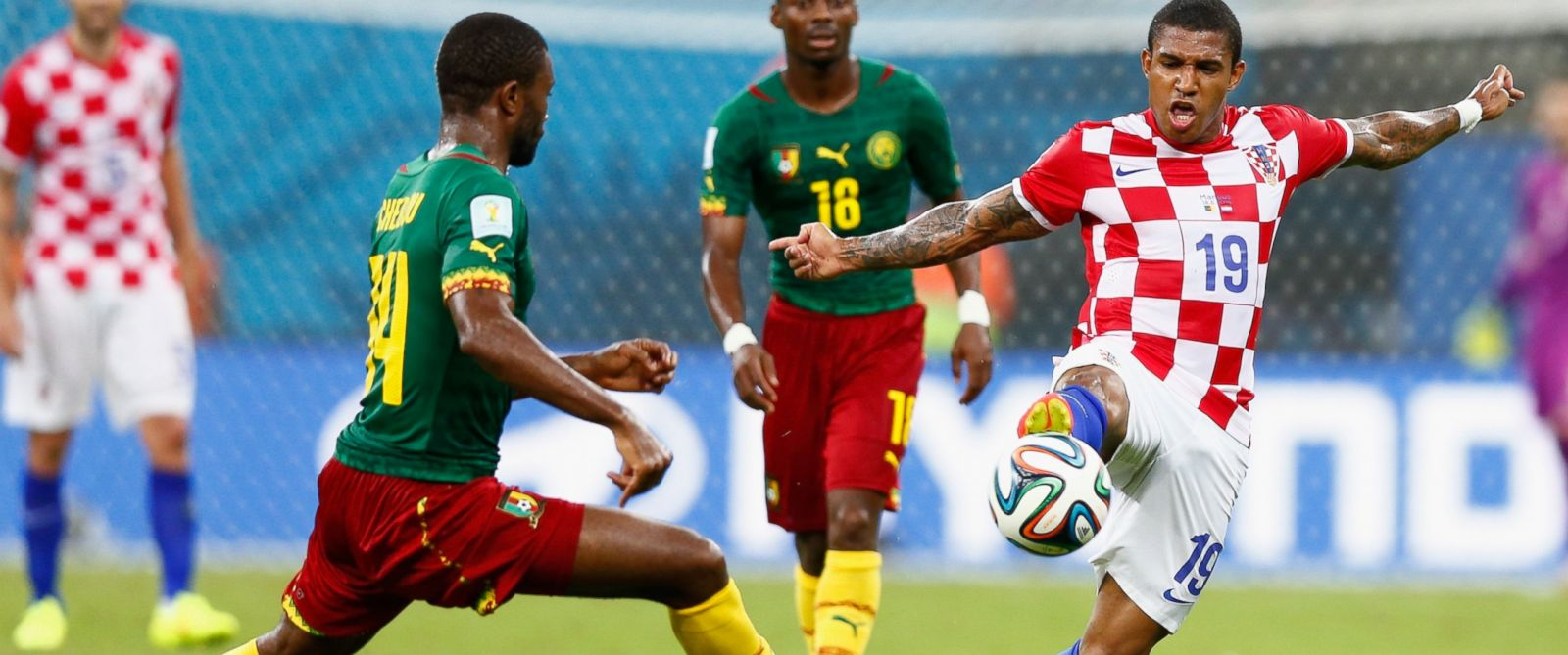 PHOTO: Sammir of Croatia controls the ball against Aurelien Chedjou of Cameroon during the 2014 FIFA World Cup Brazil Group A match between Cameroon and Croatia at Arena Amazonia on June 18, 2014 in Manaus, Brazil.