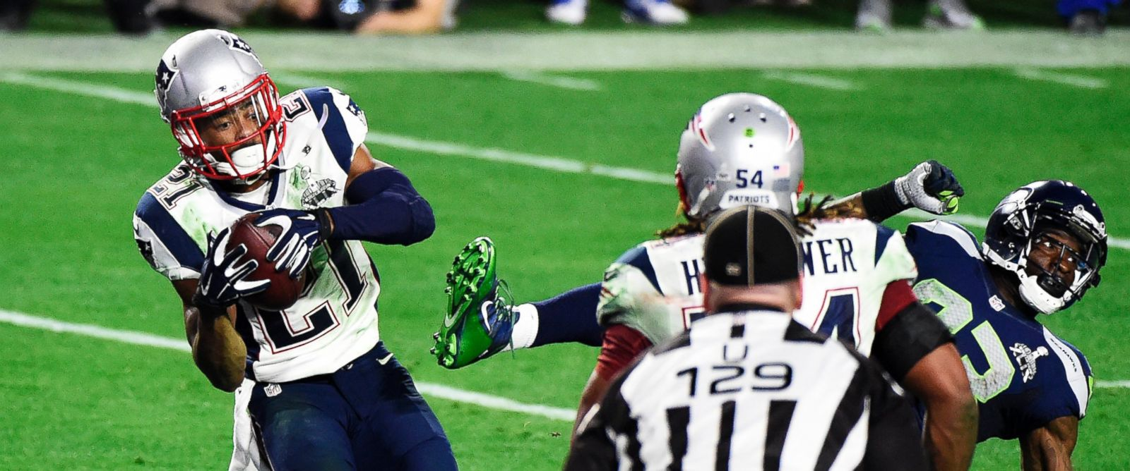 PHOTO: Malcolm Butler #21 of the New England Patriots makes an interception against the Seattle Seahawks in the fourth quarter during Super Bowl XLIX on Feb. 1, 2015, in Glendale, Ariz.
