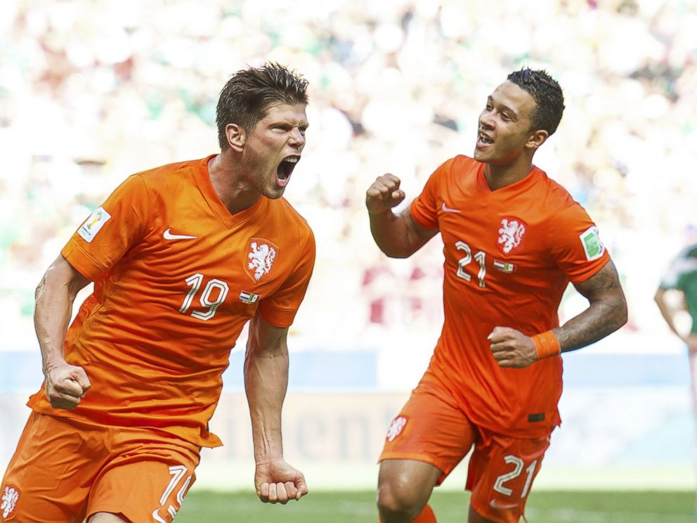 PHOTO: Klaas-Jan Huntelaar and Memphis Depay of Holland during the match between The Netherlands and Mexico on June 29, 2014 at Estadio Castelao in Fortaleza, Brazil.