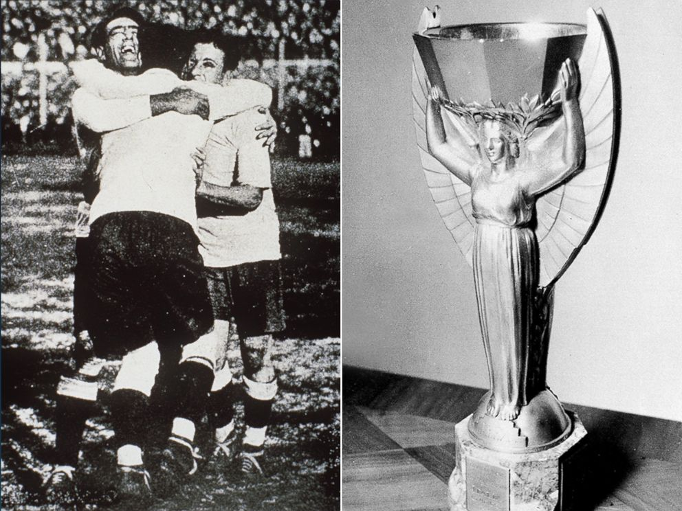 PHOTO: Players from the Uruguay national team celebrate during the first FIFA World Cup finale game in 1930 and the Jules Rimet Cup is pictured in an undated archive photo.