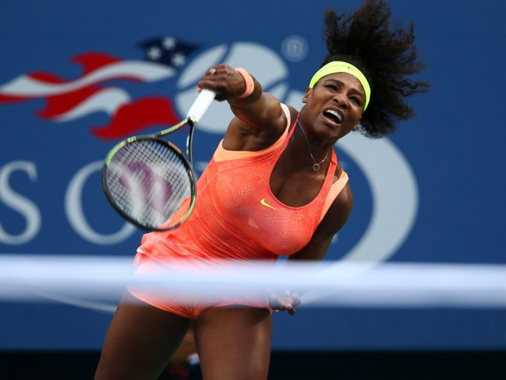 PHOTO: Serena Williams of the United States serves to Madison Keys of the United States during their Womens Singles match at the US Open on Sept. 6, 2015 in New York.