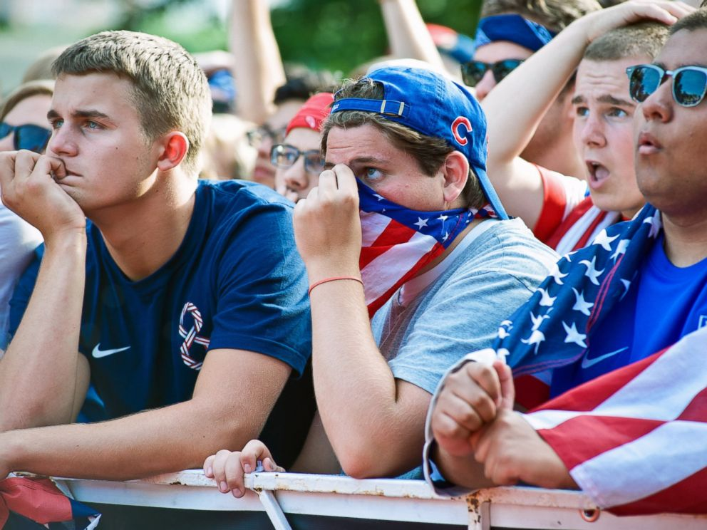 PHOTO: Fans gather in Grant Park to watch the United States tie Portugal in a Group G World Cup match on June 22, 2014 in Chicago, Illinois.