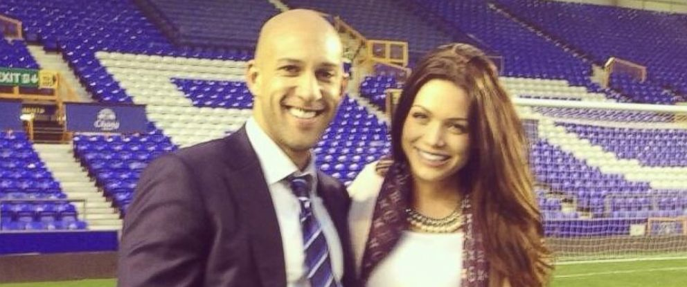 """PHOTO: U.S. soccer star Tim Howard is seen with his girlfriend Sarah McLean in a photo that she posted to her Twitter account on May 3, 2014 with the text, """"My boy played well."""""""
