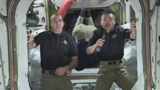 "VIDEO: Astronauts aboard the ISS congratulated the ""Gravity"" cast and crew for bringing a taste of space to movie theaters."
