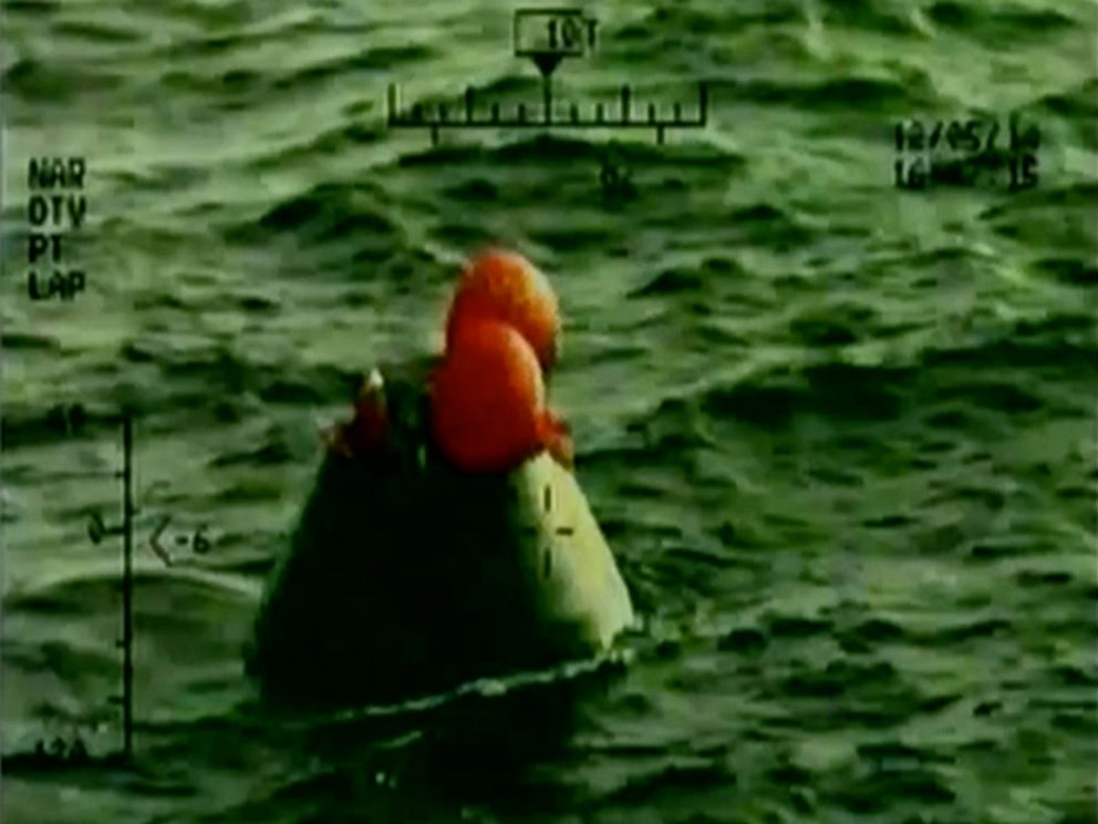 PHOTO: In this frame grab from NASA-TV, the Orion capsule floats after splashing down in the Pacific Ocean, Dec. 5, 2014.