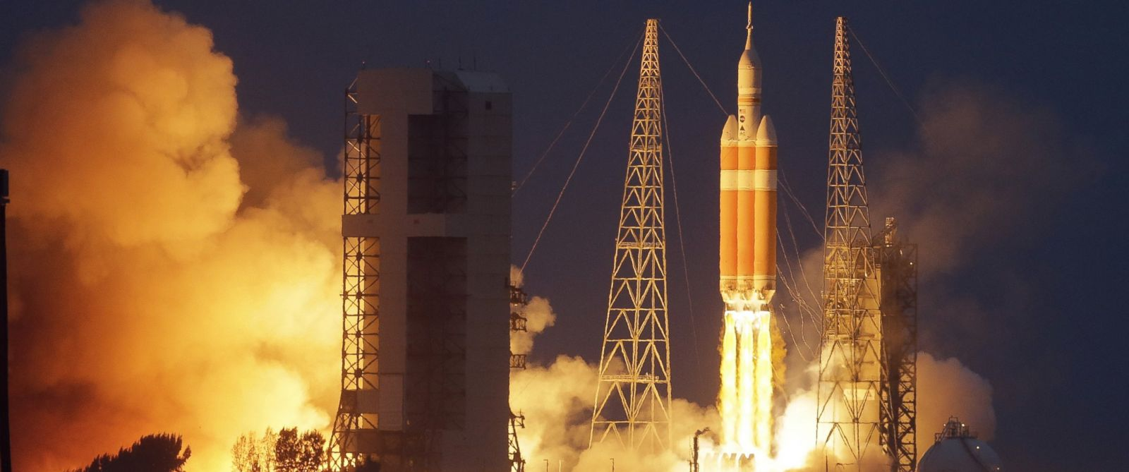 PHOTO: NASAs Orion spacecraft, atop a United Launch Alliance Delta 4-Heavy rocket, lifts off on its first unmanned orbital test flight from the Cape Canaveral Air Force Station, Dec. 5, 2014, in Cape Canaveral, Fla.