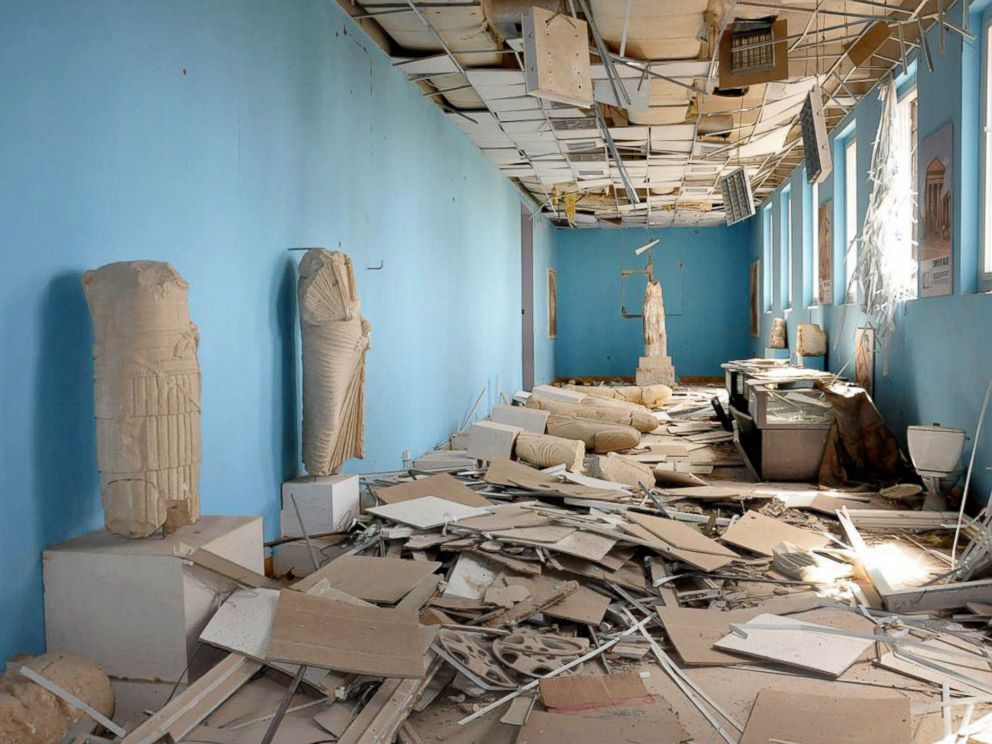 PHOTO: This photo released by the Syrian official news agency SANA shows destroyed statues at the damaged Palmyra Museum, in Palmyra city, central Syria.