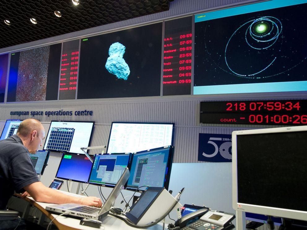 PHOTO: An expert watches his screens at the European Space Agency in Darmstadt, Germany