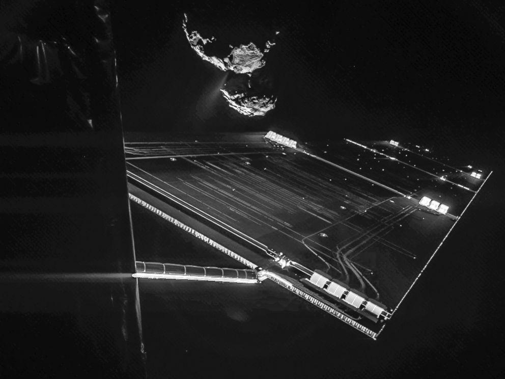 PHOTO: This composite image shows parts of Rosetta in front of 67P/Churyumov-Gerasimenko
