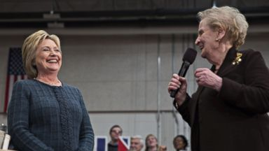 PHOTO: Hillary Clinton, 2016 Democratic presidential candidate, left, smiles as Madeleine Albright, former U.S. Secretary of State, introduces her during a campaign event in Concord, N.H., Feb. 6, 2016.