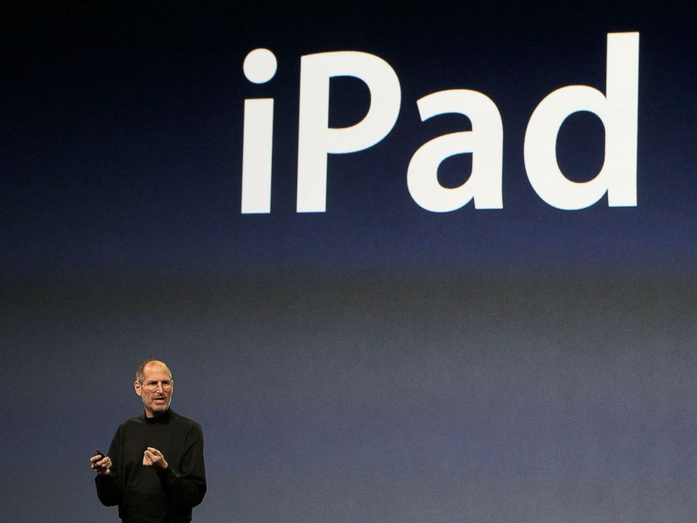 PHOTO: Apple Inc. CEO Steve Jobs announces the new iPad as he speaks during an Apple Special Event at Yerba Buena Center for the Arts January 27, 2010 in San Francisco.